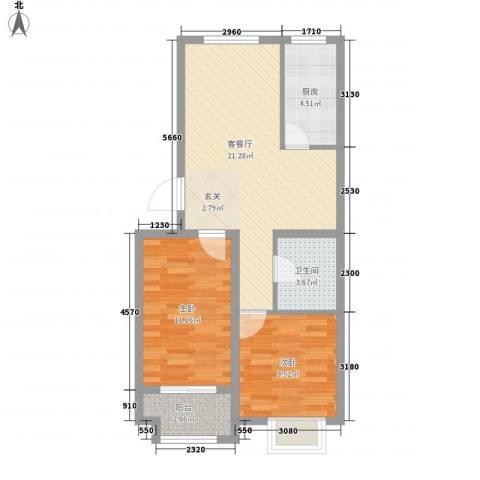 紫金园翡翠花园2室1厅1卫1厨76.00㎡户型图