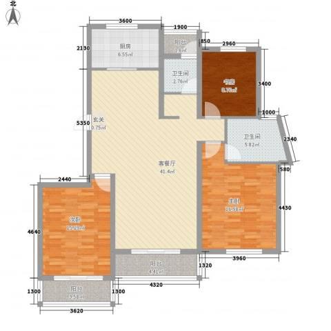 格兰春天3室1厅2卫1厨142.00㎡户型图