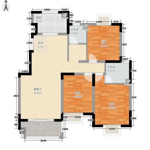 久和国际新城3室1厅2卫1厨115.00㎡户型图