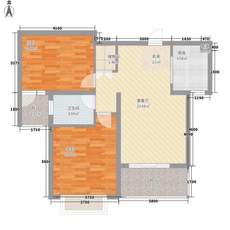 郑州国瑞城4.13㎡一期小高层B户型2室2厅1卫1厨