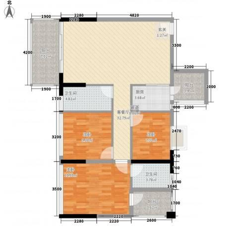 金碧丽江东第3室1厅2卫1厨89.89㎡户型图