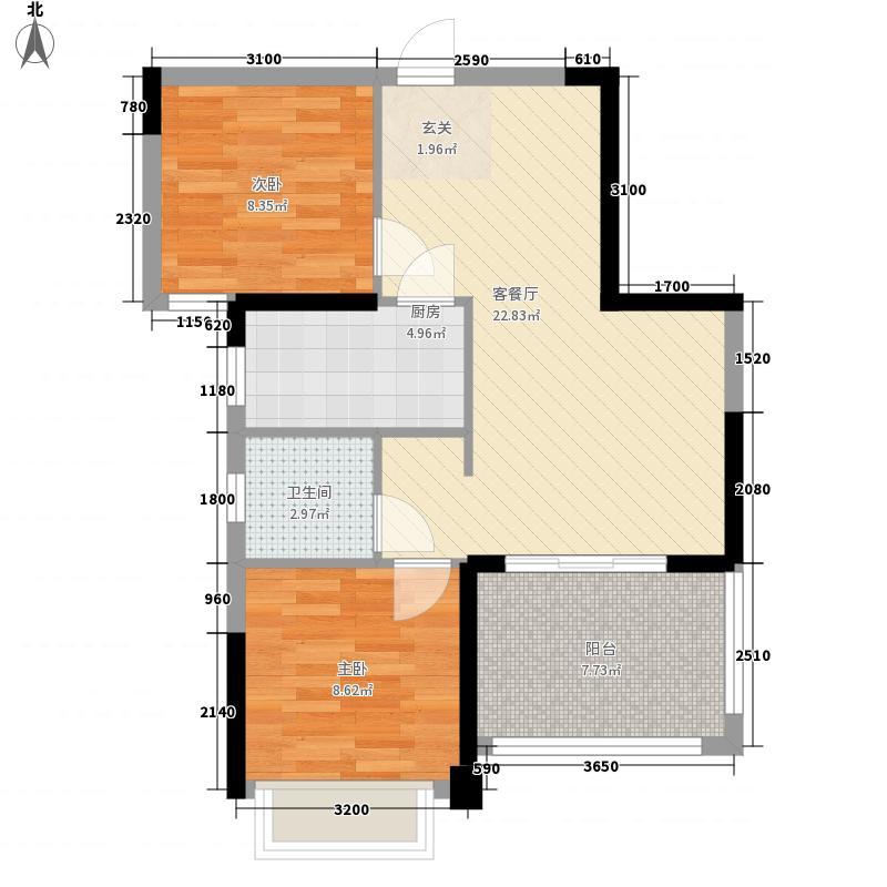 纽宾凯汉city国际社区74.00㎡8、16号楼C3户型2室2厅1卫1厨