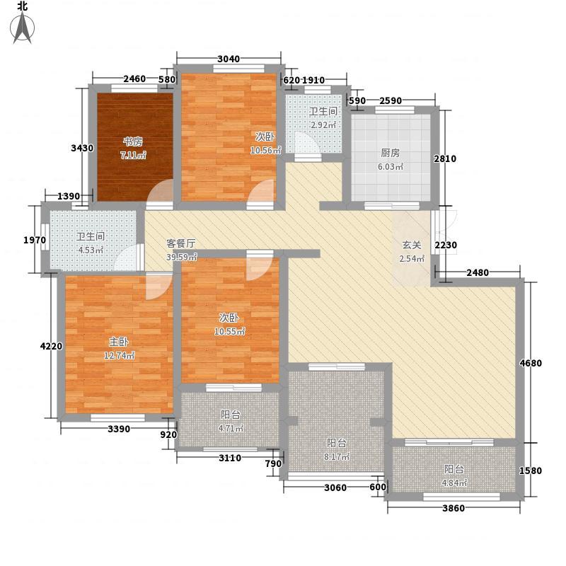 凤凰太阳城162.30㎡13#E2户型4室2厅2卫1厨