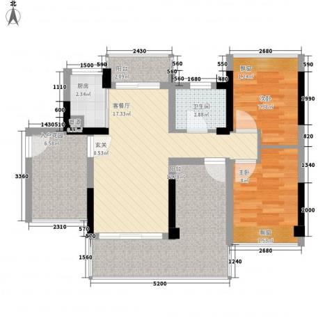 畔山名居・特区青年2室1厅1卫1厨86.00㎡户型图