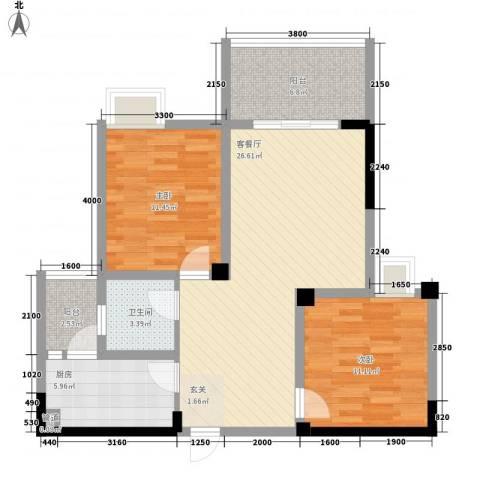海博春天・龙池广场2室1厅1卫1厨78.00㎡户型图
