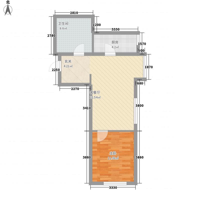中环城市广场75.00㎡5、7号楼C1户型1室2厅1卫1厨