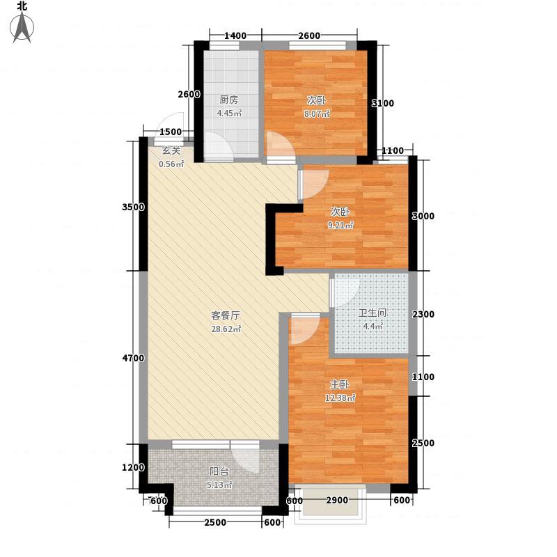 章丘唐人中心115.00㎡C1#C3#号楼E2户型3室2厅1卫1厨