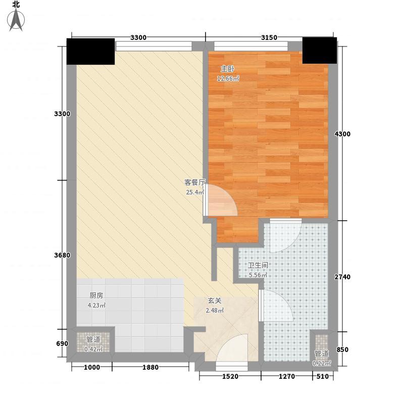 星光耀广场65.80㎡3号楼B1户型1室2厅1卫1厨