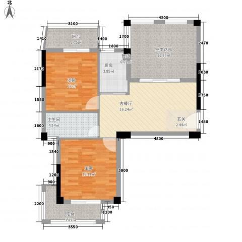联发欣悦园2室1厅1卫1厨98.00㎡户型图