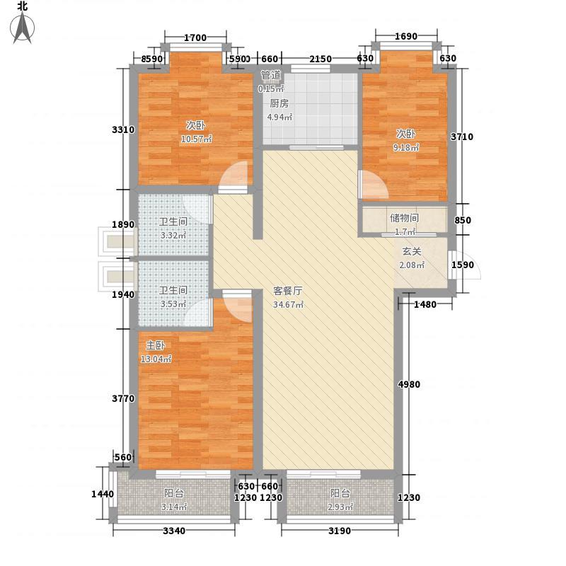 世纪鑫城3室1厅2卫1厨126.00㎡户型图