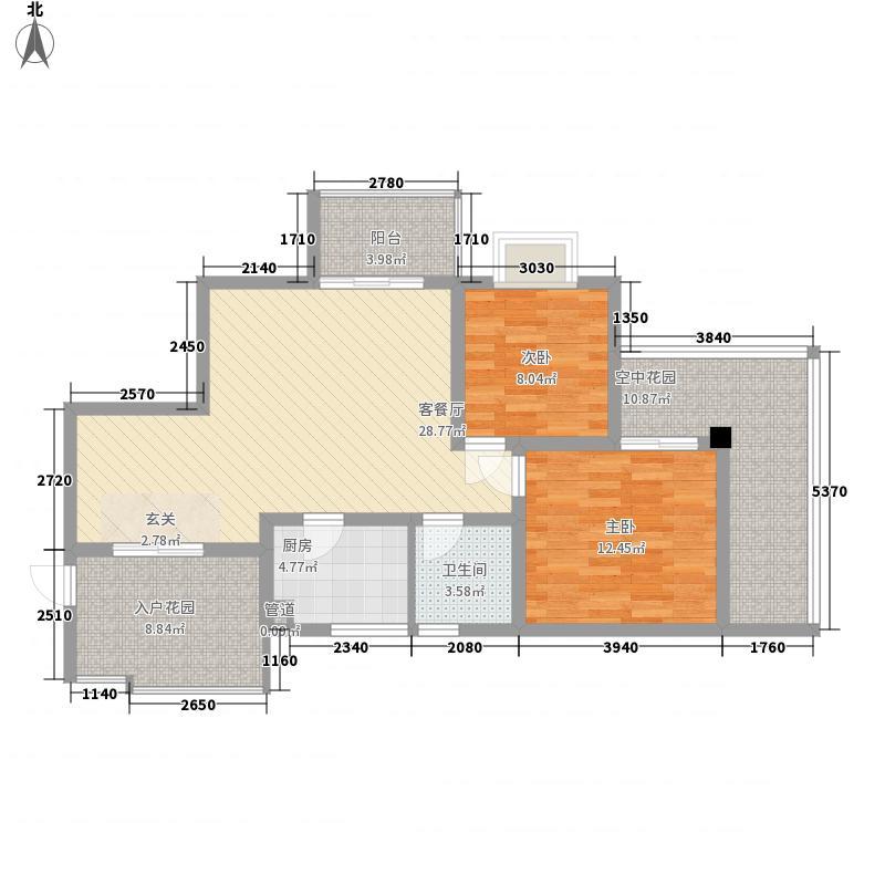 金上城83.34㎡B1【中庭】24-30F偶数层户型2室2厅1卫1厨