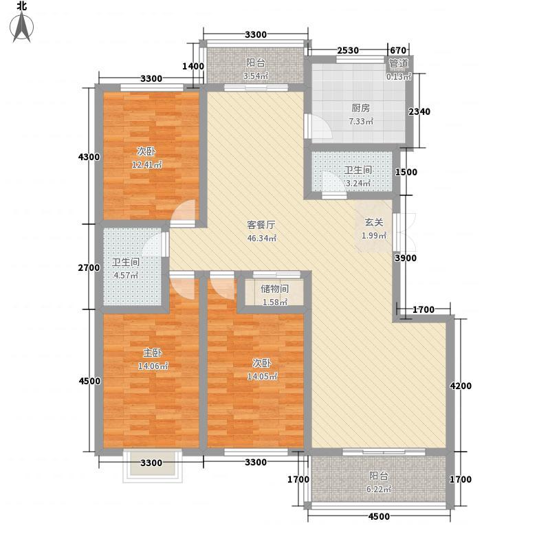 新元绿洲3室1厅2卫1厨154.00㎡户型图
