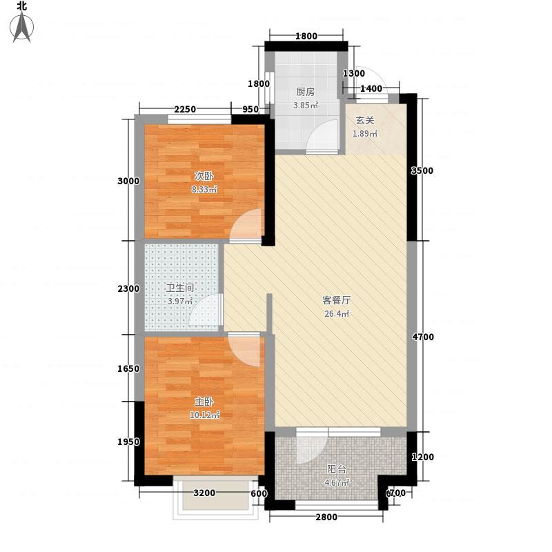章丘唐人中心85.00㎡C1#C3#号楼G4户型2室2厅1卫1厨