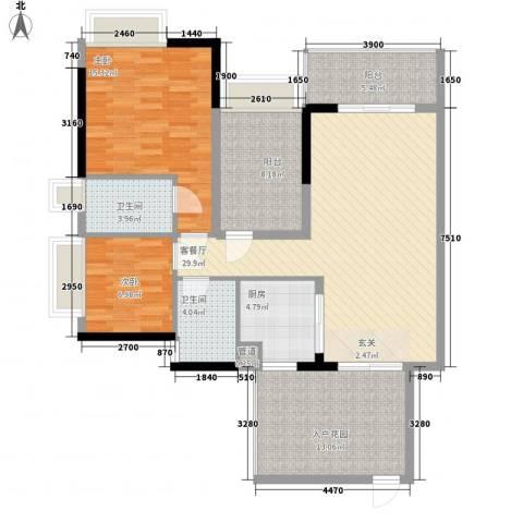 招商金山谷2室1厅2卫1厨103.00㎡户型图
