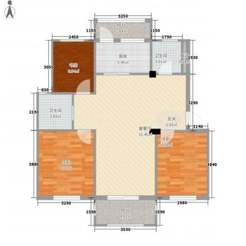 阳光美地3室1厅2卫1厨112.00㎡户型图