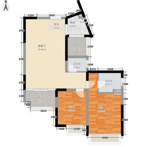 龙祺苑2室1厅2卫1厨106.00㎡户型图