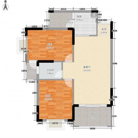 皇庭御珑湾2室1厅1卫1厨78.29㎡户型图