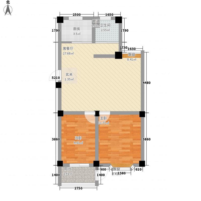 西涝台御鑫园83.40㎡户型2室1厅1卫1厨