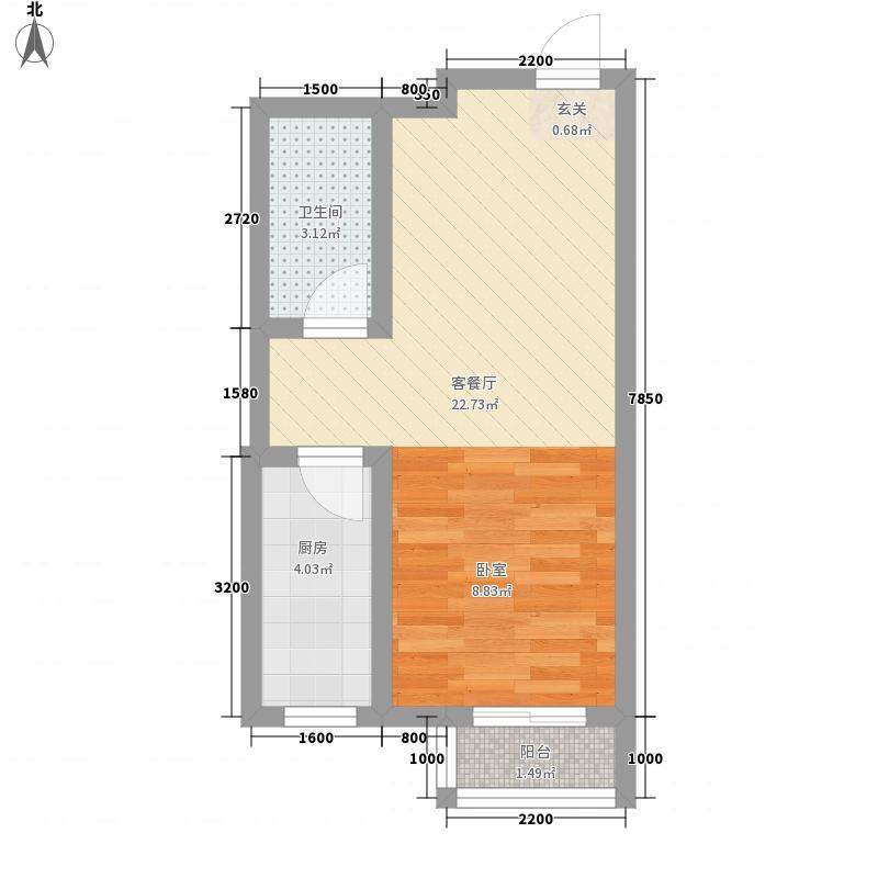 观锦城0室1厅1卫1厨46.00㎡户型图