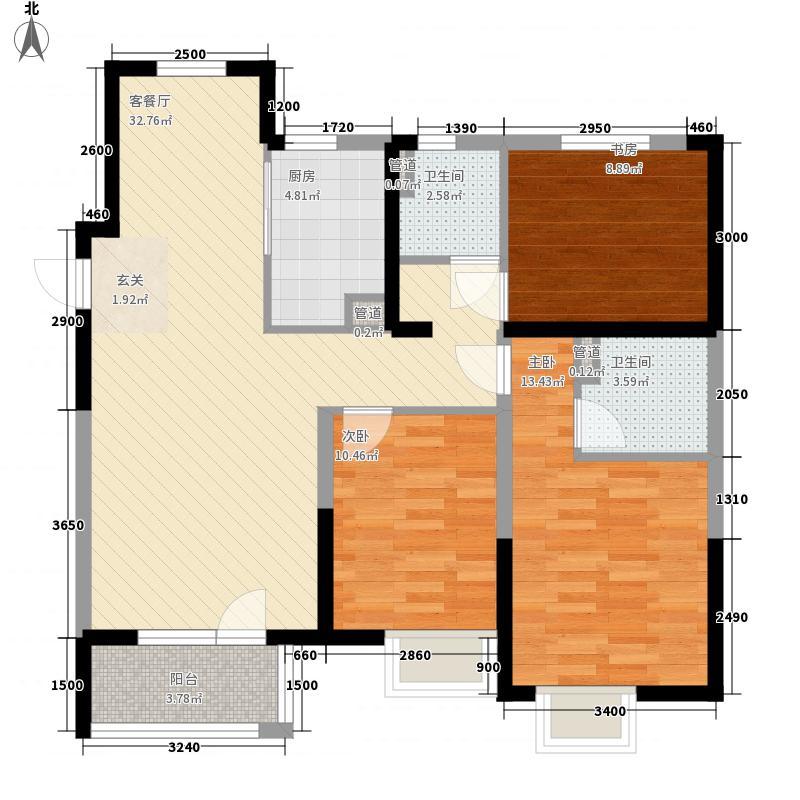 吉林昌邑万达广场3室1厅2卫1厨114.00㎡户型图