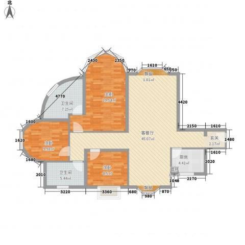 君临天下3室1厅2卫1厨139.00㎡户型图
