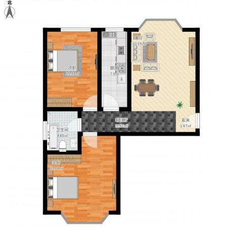 铜锣湾城市福邸2室1厅1卫1厨112.00㎡户型图