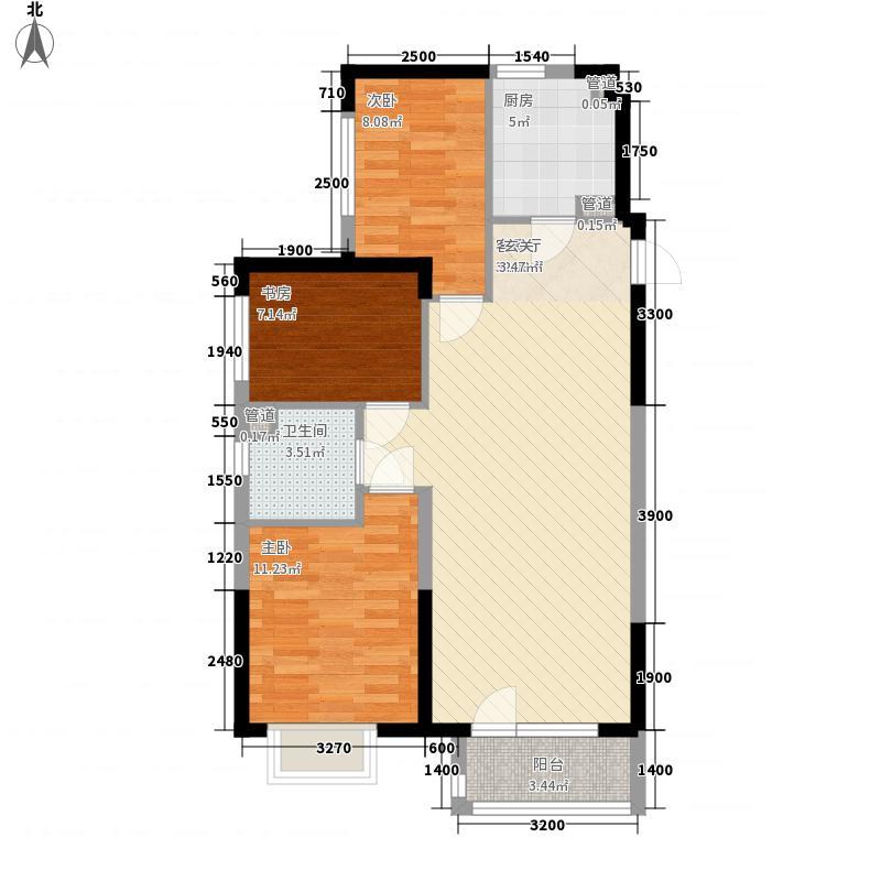 吉林昌邑万达广场3室1厅1卫1厨100.00㎡户型图