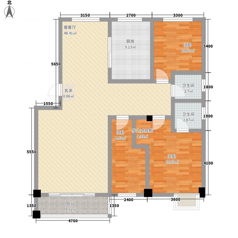 爱家花园11.48㎡户型3室2厅2卫1厨