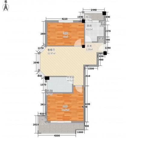 聚贤雅苑2室1厅1卫1厨91.00㎡户型图