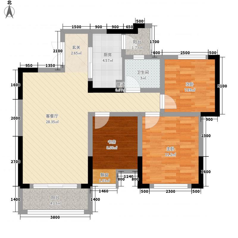渝能嘉湾壹号3室1厅1卫1厨101.00㎡户型图