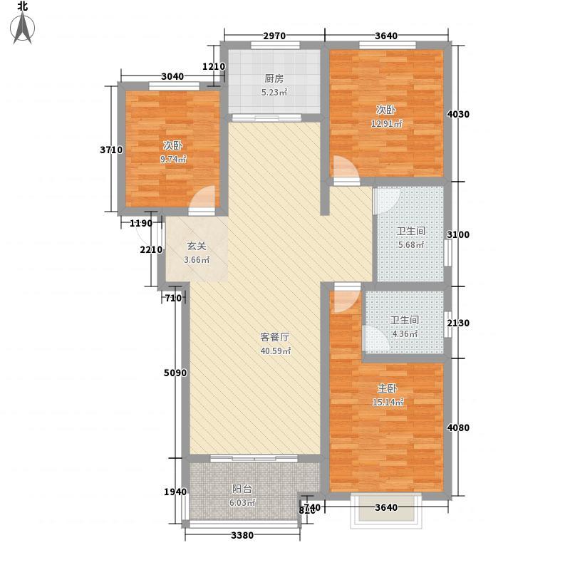江泉国际142.00㎡二期高层I户型3室2厅2卫1厨