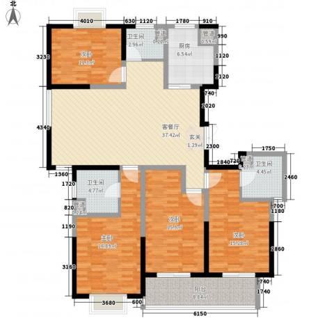 黄山湖公馆4室1厅3卫1厨180.00㎡户型图