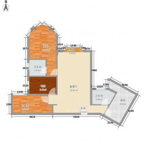 君临天下3室1厅2卫1厨109.00㎡户型图