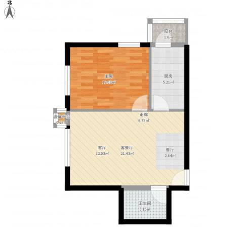 西山枫林1室1厅1卫1厨62.00㎡户型图