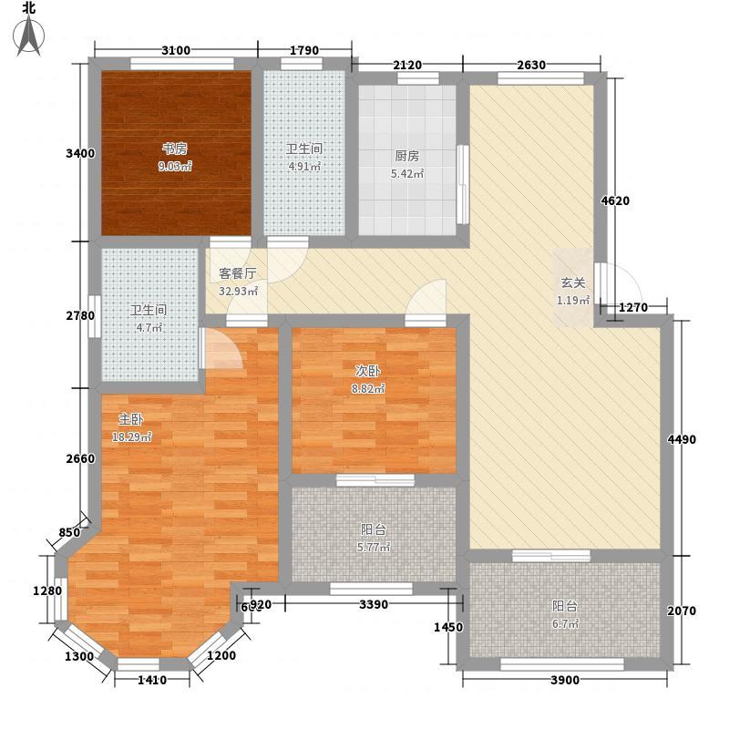 中南世纪星城141.37㎡B7#A户型3室2厅2卫1厨
