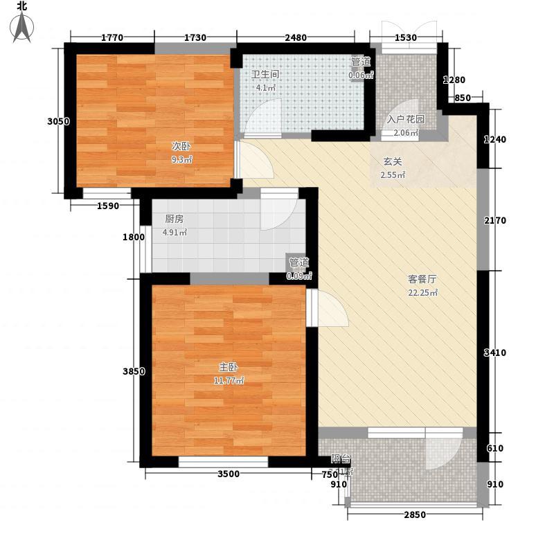 天物轩宇嘉园2室1厅1卫1厨85.00㎡户型图