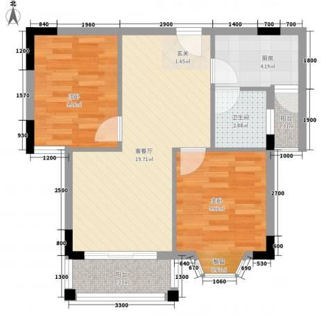 薇风大道2室1厅1卫1厨72.00㎡户型图