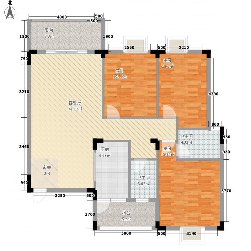 耀辉美好家园3室1厅2卫1厨151.00㎡户型图