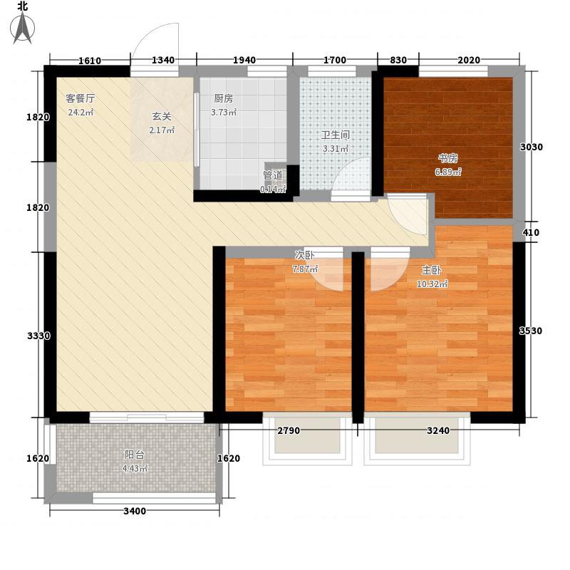 中海锦苑3室1厅1卫1厨60.90㎡户型图