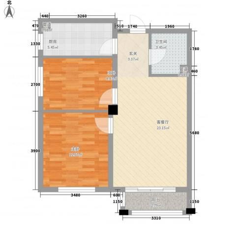 保利花园三期双河城2室1厅1卫1厨76.00㎡户型图