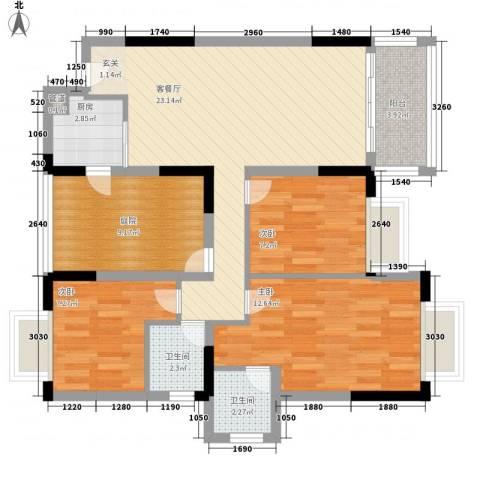 豪景新苑3室1厅2卫1厨82.40㎡户型图