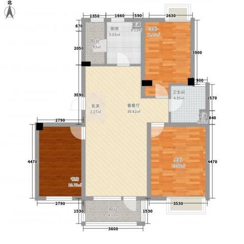 保利溪湖林语三期3室1厅1卫1厨107.00㎡户型图