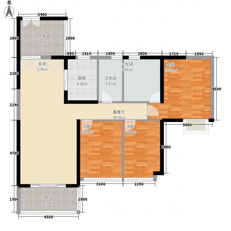 兰亭国际名园145.00㎡兰亭国际名园户型图2座AD户型3室2厅2卫1厨户型3室2厅2卫1厨