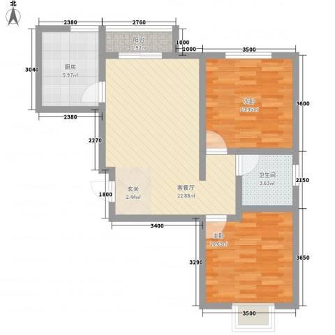 玫瑰花园2室1厅1卫1厨82.00㎡户型图