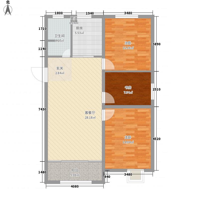 东鲁凤凰上郡3室1厅1卫1厨76.91㎡户型图