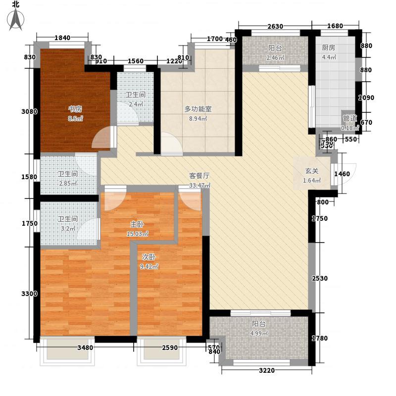 中海锦苑3室1厅3卫1厨95.95㎡户型图