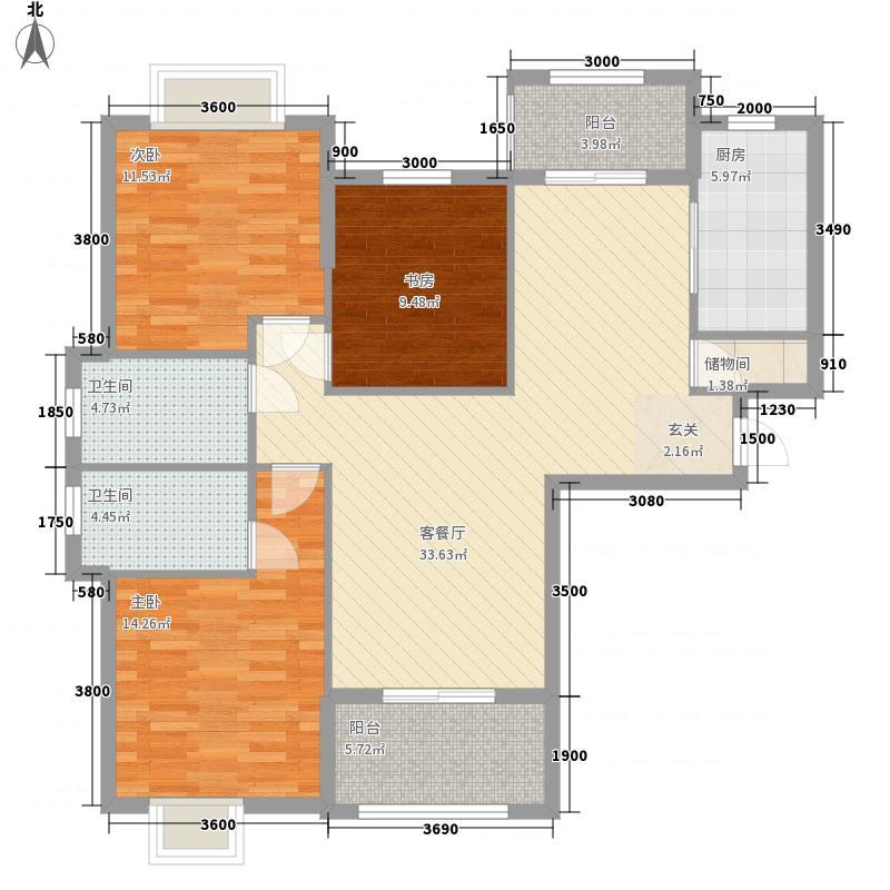 美联联邦生活区一期美联时光里3室1厅2卫1厨127.00㎡户型图
