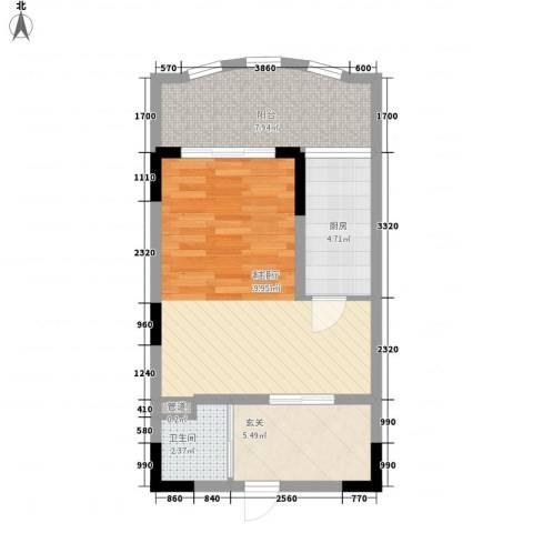 天成广场1厅1卫1厨60.00㎡户型图