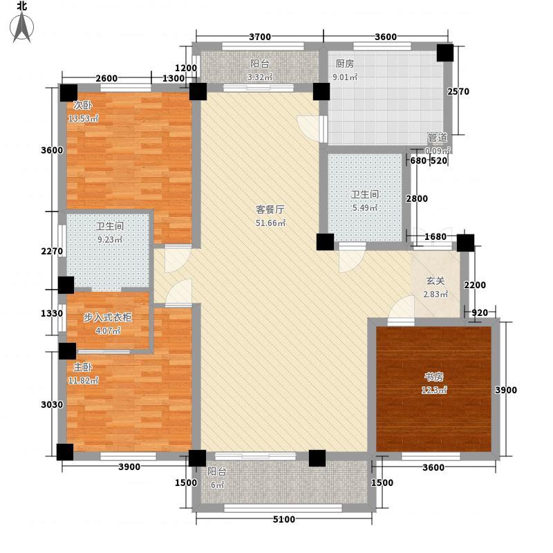 米兰小镇3室1厅2卫1厨122.45㎡户型图