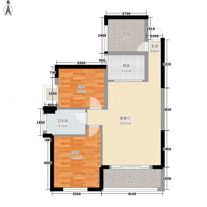 博长山水香颐2室1厅1卫1厨89.00㎡户型图